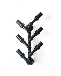 Industrial Iron Wall-Mounted Wine Rack (6 slots)