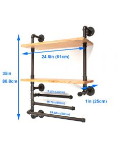 3 Tier Industrial Iron Wall-Mounted Pipe Shelves